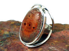SPONGE  CORAL   Sterling  Silver  925   RING  -  Size : P -   Gift Boxed