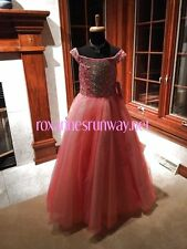 Tiffany Princess 13457 Coral Champagne Girls Pageant Gown Dress sz 8