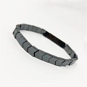Hematite Non-Magnetic Bracelet Mens Womens Unisex Adjustable Size Silver X31