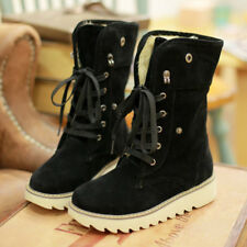 Winter Women Furry Lace Up Matte Platform Short Flat Mid-Calf Snow Boots Warm
