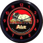 Hanleys Peerless Ale Bulldog Providence RI Beer Tray Wall Clock Brew Man Cave
