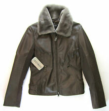 APRIORI Lederjacke 38 braun Webpelz Pelzkragen Bikerlook Leather jacket neu