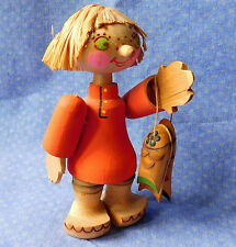 "Russian wooden figurine child with fish ornament wood folk art 5"" European doll"