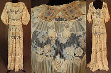 Edwardian Handmade Irish Crochet Lace Raised Roses Applique Wedding Gown Dress