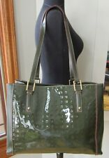 ARCADIA GREEN PATENT LEATHER LOGO EMBOSSED TOTE SHOULDER BAG W LEATHER TRIM NWOT