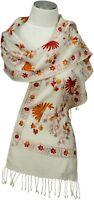 Schal neue Kollektion bestickt schmal Weiß embroidered scarf wool Wolle white