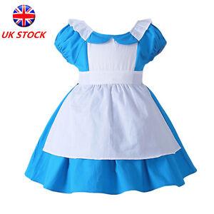 Girls Alice Wonderland Costume Kids Fairytale Book Week Day Fancy Dress Outfit