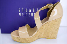 Stuart Weitzman Oneliner Patent Leather Wedge Sandal Nude Adobe Aniline Sz 9.5