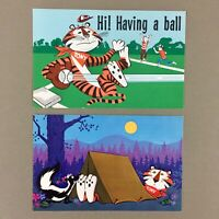 Lot of 2 vintage Tony the Tiger Kellogg's Cereal postcards 60s camping baseball