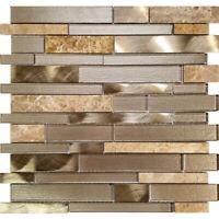 Champagne Interlocking Pattern Glass Stone Metal Mosaic Tile Kitchen Backsplash