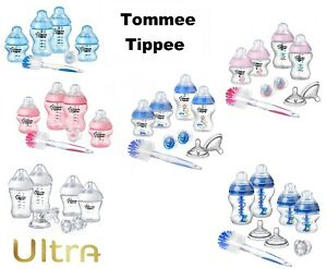 Tommee Tippee Closer to Nature Feeding Bottles Starter Kit Blue/Pink ULTRA Clear