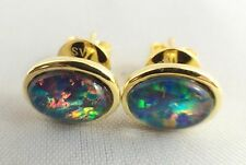 Genuine Australian Triplet Opal Stud Earrings 18ct Gold Plated w Cert / Jewelry