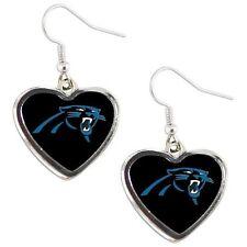 Carolina PANTHERS NFL Color Heart Silver Dangle Earrings