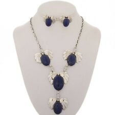 Native American Blue Lapis Y Necklace Set With Post Earrings Navajo V Blackgoat
