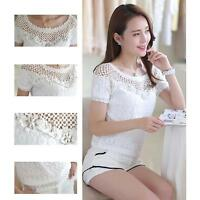 Comfortable Women Girl Summer Chiffon Shirt Lace Short Sleeve Casual Tops Blouse