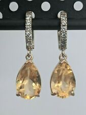 8.18TCW Natural Citrine and Diamond in 14K Solid Yellow Gold Drop Earrings