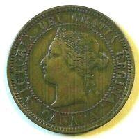1886 1c Canada Queen Victoria Large Cent - XF+