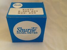 Shurite 0-300AC Volts  Panel  Meter Tested  NOS 8407Z  clear plastic model 850