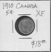 CANADA - BEAUTIFUL HISTORICAL EDWARD VII 5 CENTS, 1910 POINTED LEAVES, KM# 13