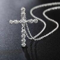 Silber Kreuz Zirkon Anhänger Kette Halskette Schmuck Kreuzanhänger Damen Feine