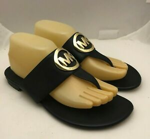 MK Michael Kors Thong Flat Sandals Gold MK Logo Leather Black Women's Sz 9 M