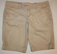 Womens Arizona Jeans Co. Flat Front Bermuda Casual Shorts Sz: 9 Beige Tan Beige