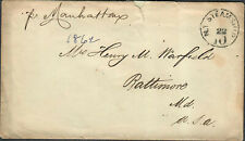 Transatlantic Ship Stampless Cover 1862 NY To Baltimore MD