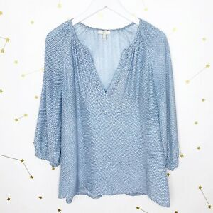 Joie Silk Blouse Size Small Blue Geometric Print Coralee 3/4 Sleeves V Neck Top