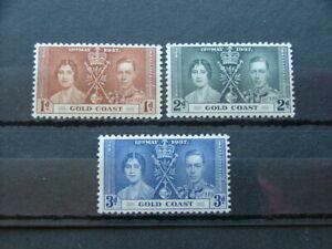 Gold Coast KGVI 1937 Coronation Issue SG117-119 LMM