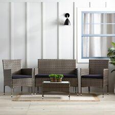 Patio Wicker Furniture 4-Piece Rattan Outdoor Patio Conversation Set,
