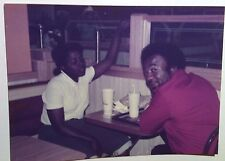 Vintage 70s Found Color Photo Black African Man & Woman Sitting At Old McDonalds