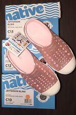 Native Kids Girls Jefferson Bling Glitter Slip On  in Milk Pink Size 11.