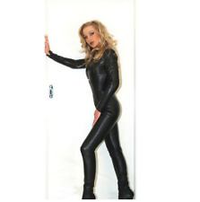 Genuine leather women catsuit Jump Suit club wear echt leer catsuit with sleeve