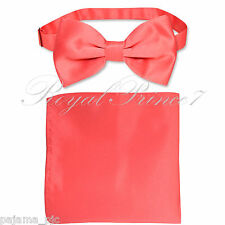 New Coral Men's pre tied Bow tie & Pocket Square Hankie set wedding