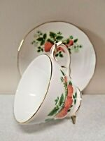 Vintage Duchess Bone China Cup & Saucer Set Strawberry Made in England