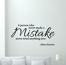 Einstein Quote Wall Decal Mistake Lettering Vinyl Sticker Art Decor Poster 62thn