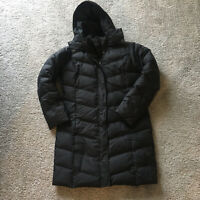 Eddie Bauer Premium Quilted Goose Down Long Puffer Coat Womens Black Size S