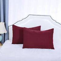 Soft 2pcs Pillowcases Microfiber No Wrinkle Travel Burgundy Pillow Case Cover