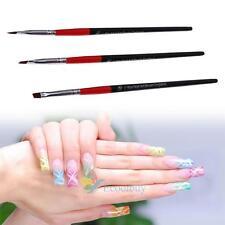 3x Nail Art Pen Brush UV Gel Acrylic Painting Drawing Liner Polish Brushes Tips