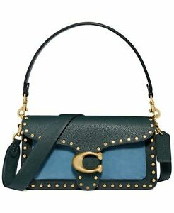 Coach Stud Colorblock Leather Shoulder Bag - Blue