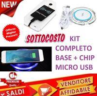 CARICATORE CARICABATTERIE WIRELESS WIFI Qi + CHIP SMARTPHONE micro usb SAMSUNG
