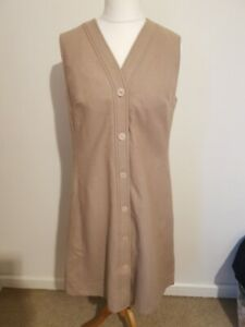 Vintage 1960s Popover Dereta Camel Brown Wool Winter Jumper Dress Modern size 16