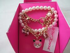 Betsey Johnson gold tone fox~bow~heart white beaded stretch bracelet,N/B