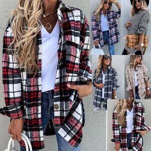 Women Plaid Shirt Check Tee Tops Ladies Casual Long Sleeve T Shirt Blouse Size