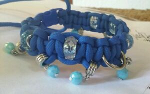 Paracord bling collar:, blue beaded collar with blue crystal beads. Small dog
