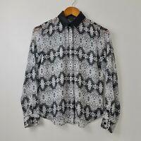 Armani Exchange Women's Black White Button Up Shirt Faux Leather Neck Size XS