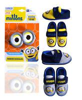 Boys Minions Slippers New Kids Infant Nightwear Shoes Disney UK 6 7 8 9 10 11 12