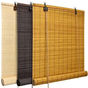 Bambus Rollo Natur Bambusrollo Holzrollo Sichtschutz Jalousie Raffrollo Braun