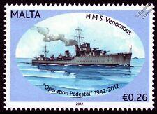 HMS VENOMOUS (D75) W-Class Destroyer Warship WWII Malta Convoys Stamp