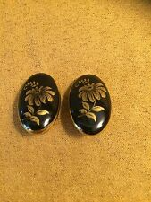 Vintage Black Gold Tone Painted Flower Marked Made In Austria Clip On Earrings